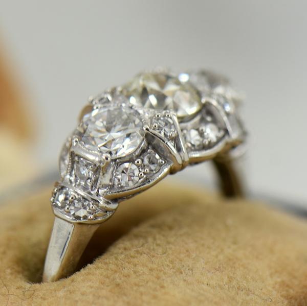 Granat Signed Art Deco Platinum Diamond 3 Stone Ring 3