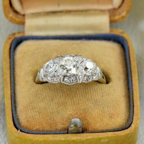 Granat Signed Art Deco Platinum Diamond 3 Stone Ring 4