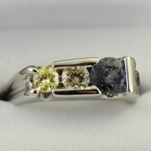 Three Stone Mens Ring Yellow Diamonds  Color Change Sapphire