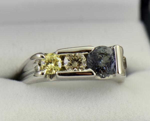 Three Stone Mens Ring Yellow Diamonds  Color Change Sapphire