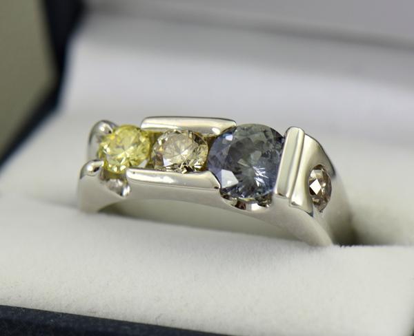 Three Stone Mens Ring Yellow Diamonds  Color Change Sapphire 2
