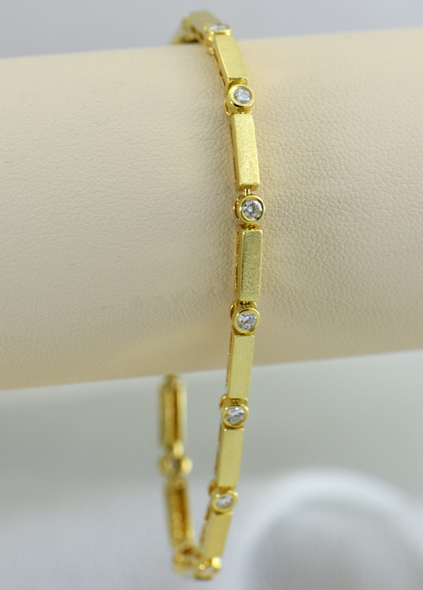 18k yellow gold  diamond bracelet with modern matte finish 2.JPG