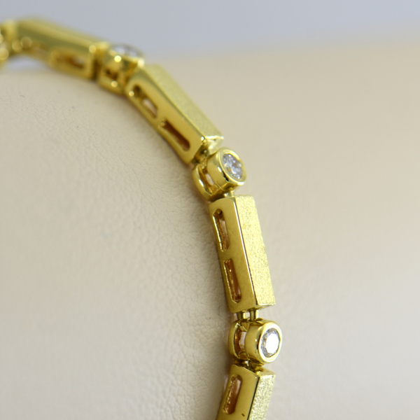 18k yellow gold  diamond bracelet with modern matte finish 3.JPG