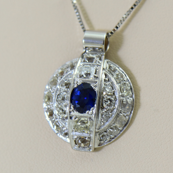 Antique Blue Sapphire and Diamond Disc Pendant.JPG