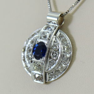 Antique Blue Sapphire and Diamond Disc Pendant 2.JPG