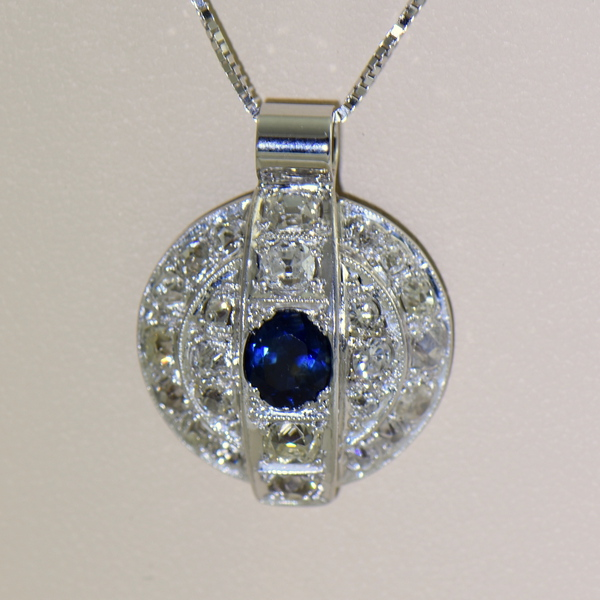 Antique Blue Sapphire and Diamond Disc Pendant 3.JPG