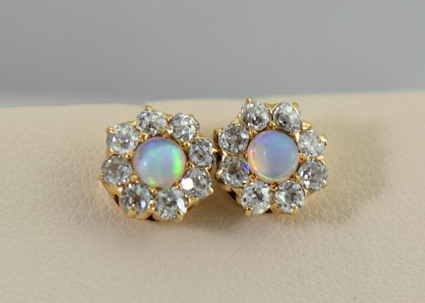 Antique Victorian Opal  Diamond Halo Stud Earrings.JPG