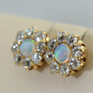 Antique Victorian Opal  Diamond Halo Stud Earrings 2.JPG