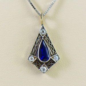 Art Deco Platinum Filigree Sapphire Pendant.JPG