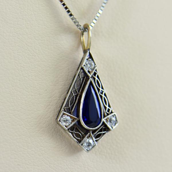 Art Deco Platinum Filigree Sapphire Pendant 2.JPG