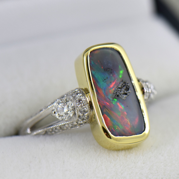Australian Red Flash Boulder Opal  Diamond Ring 3.JPG