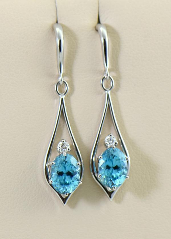 Cambodian Blue Zircon Dangle Earrings white gold.JPG
