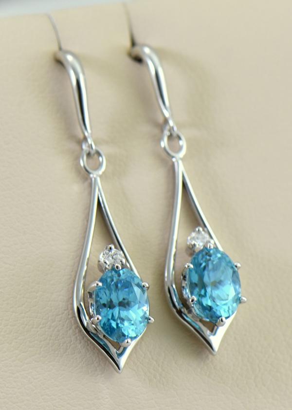 Cambodian Blue Zircon Dangle Earrings white gold 2.JPG