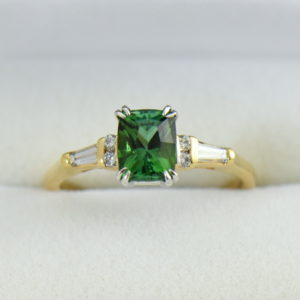 Cushion Afghan Green Tourmaline  Diamond Engagement Ring.JPG