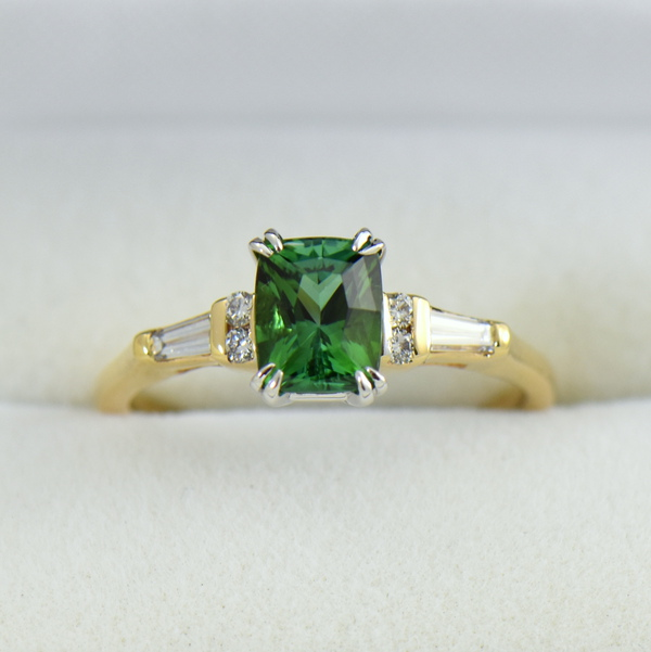 Cushion Afghan Green Tourmaline  Diamond Engagement Ring.JPG