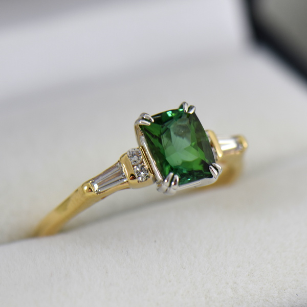 Cushion Afghan Green Tourmaline  Diamond Engagement Ring 2.JPG