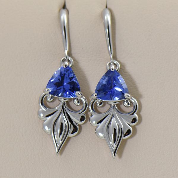 Custom Ceylon Medium Blue Sapphire White Gold Dangle Earrings.JPG
