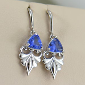 Custom Ceylon Medium Blue Sapphire White Gold Dangle Earrings 3.JPG