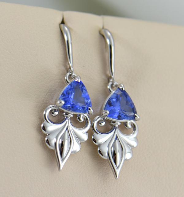Custom Ceylon Medium Blue Sapphire White Gold Dangle Earrings 3.JPG