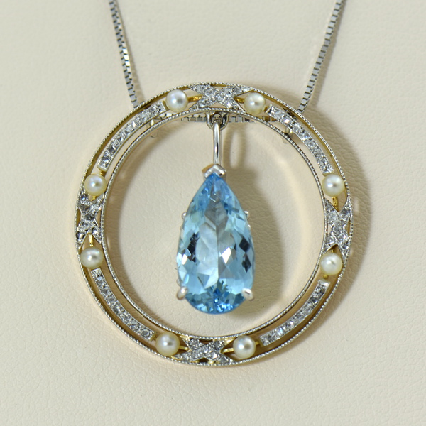 Edwardian Rose Cut Diamond  Pearl Circle Pendant with Aquamarine Dangle.JPG