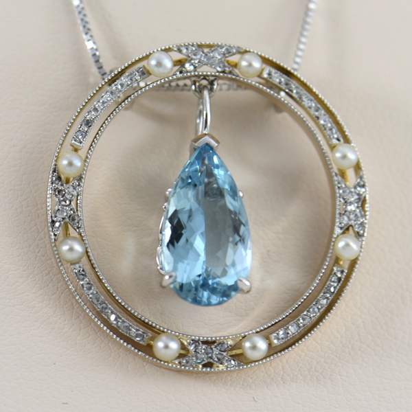 Edwardian Rose Cut Diamond  Pearl Circle Pendant with Aquamarine Dangle 2.JPG