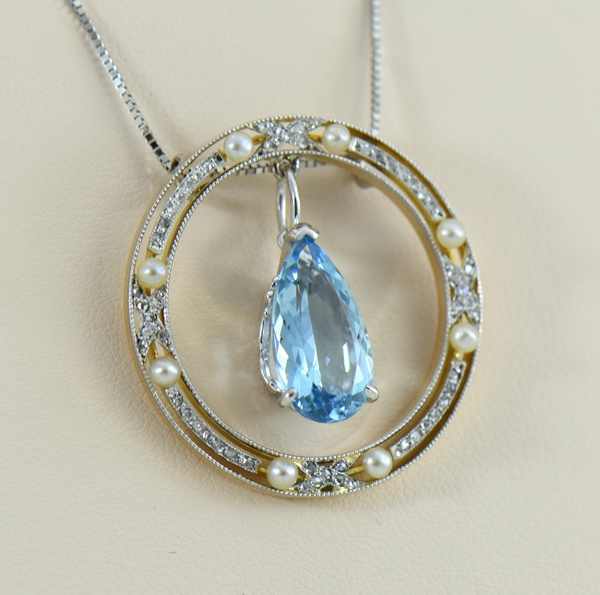 Edwardian Rose Cut Diamond  Pearl Circle Pendant with Aquamarine Dangle 4.JPG