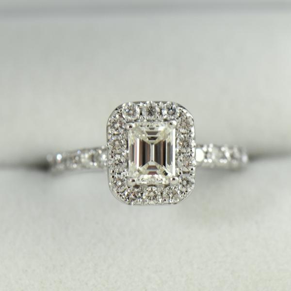 Emerald Cut Diamond Halo Engagement Ring .70ct Vs1 H.JPG
