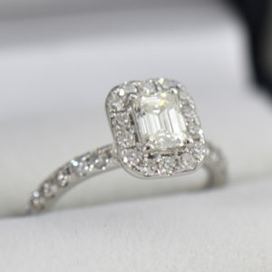 Emerald Cut Diamond Halo Engagement Ring .70ct Vs1 H 2.JPG