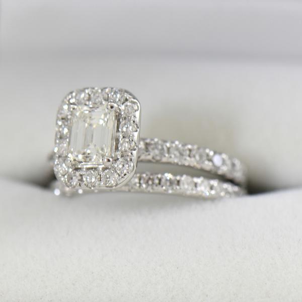 Emerald Cut Diamond Halo Engagement Ring .70ct Vs1 H 4.JPG