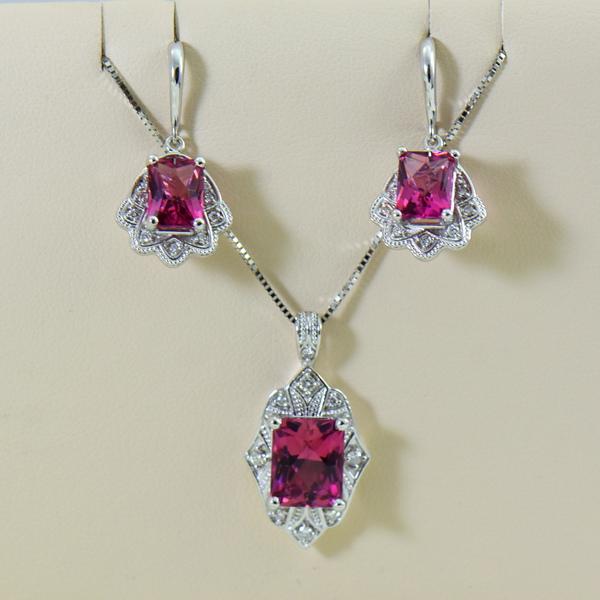 Vintage Style Radiant Cut Pink Tourmaline Pendant  Earring Set.JPG