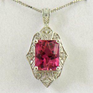 Vintage Style Radiant Cut Pink Tourmaline Pendant  Earring Set 4.JPG