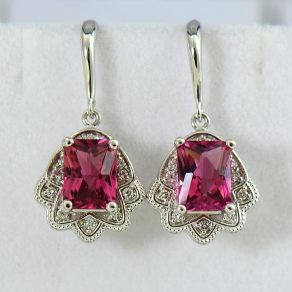 Vintage Style Radiant Cut Pink Tourmaline Pendant  Earring Set 5.JPG
