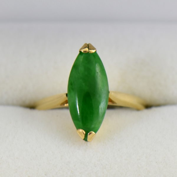 1960s marquise navette green jadeite jade solitaire in yellow gold.JPG