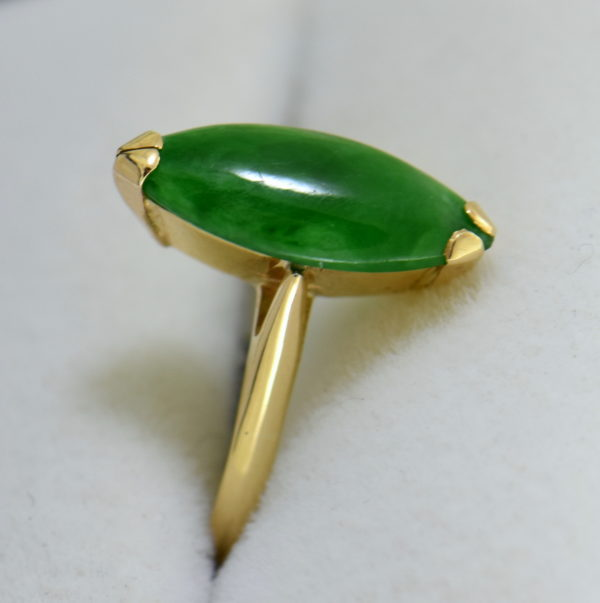1960s marquise navette green jadeite jade solitaire in yellow gold 3.JPG