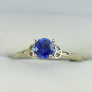 1ct Round Blue Sapphire Solitaire Ring with Celtic Trinity Accents 5.JPG