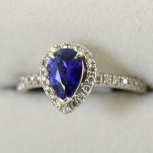Blue Violet Pear Sapphire Halo Engagement Ring.JPG