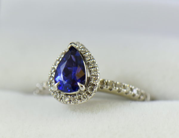 Blue Violet Pear Sapphire Halo Engagement Ring 2.JPG