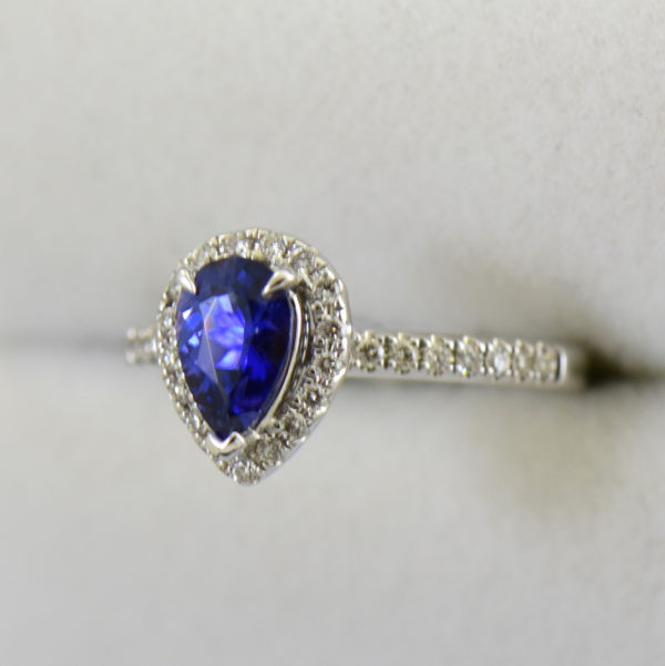 Blue Violet Pear Sapphire Halo Engagement Ring 6.JPG