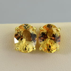 Custom 18k brazilian peach precious topaz stud earrings.JPG