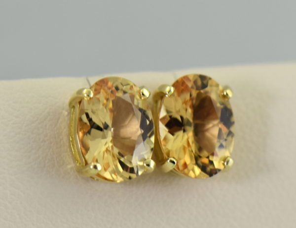 Custom 18k brazilian peach precious topaz stud earrings 3.JPG