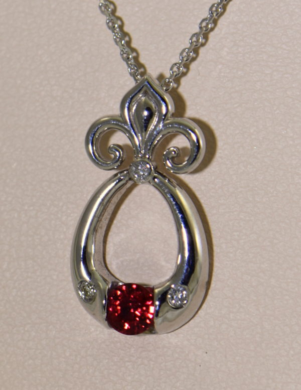 Custom Burmese Red Spinel Pendant with Fleur De Lis Bail 2.JPG 1