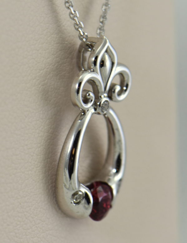 Custom Burmese Red Spinel Pendant with Fleur De Lis Bail 3.JPG 1