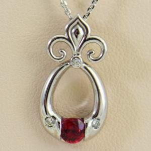 Custom Burmese Red Spinel Pendant with Fleur De Lis Bail 5.JPG 1