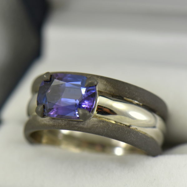 Custom Gent s Platinum and oxidized gold ring with blue spinel.JPG