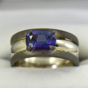 Custom Gent s Platinum and oxidized gold ring with blue spinel 2.JPG