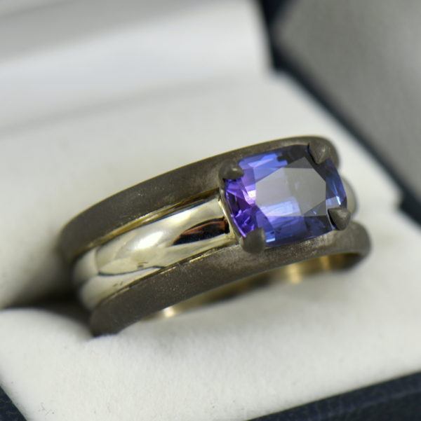 Custom Gent s Platinum and oxidized gold ring with blue spinel 3.JPG