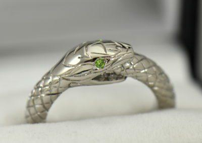 Custom Gent s Snake Ring with Demantoid Eyes.JPG
