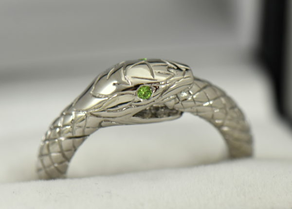 Custom Gent s Snake Ring with Demantoid Eyes.JPG