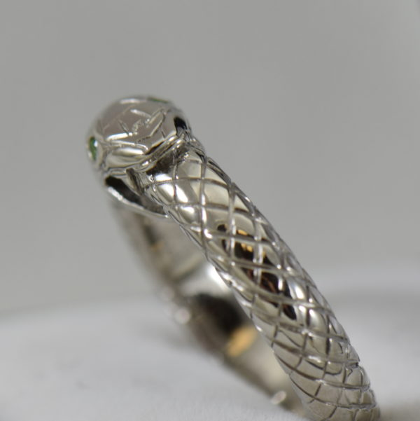 Custom Gent s Snake Ring with Demantoid Eyes 3.JPG