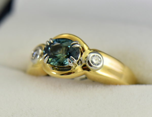 Custom Teal Sapphire  Diamond Ring in Twotone Gold.JPG